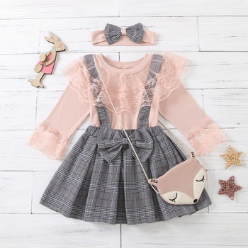 3-piece Baby / Toddler Lace Top and Bow Plaid Strap Skirt Set