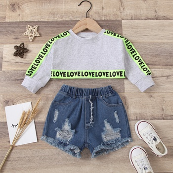 2pcs Baby Girl Long-sleeve Cotton casual Letter Baby's Sets