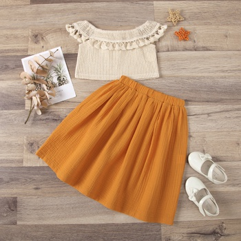 2-piece Toddler Girl Cotton Hollow Out Top and Solid Elasticized Skirt Set