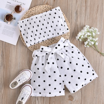 3-piece Toddler Girl Dots Top and Shorts and Belt Set