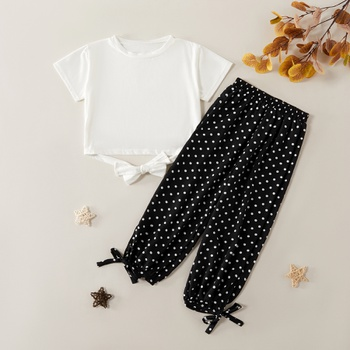 Stylish Solid Tee and Polka Dots Print Pants Set