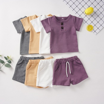Solid Simple Short-sleeve Top and Shorts Set