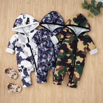 Baby Camouflage Zipper Hooded Jumpsuits