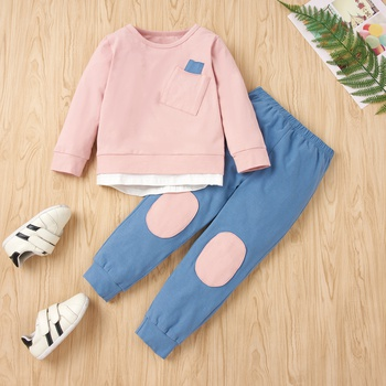 2-piece Baby / Toddler Girl Colorblock Pocket Long-sleeve Pullover and Colorblock Pants Set