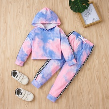 2-piece Baby / Toddler Tie-dye Letter Long-sleeve Hooded Pullover and Pants Set