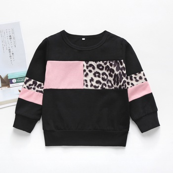 Baby / Toddler Girl Leopard Pattern Colorblock Pullover