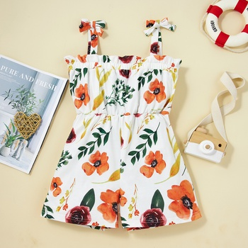 Pretty Kid Girl Floral Print Brace Romper