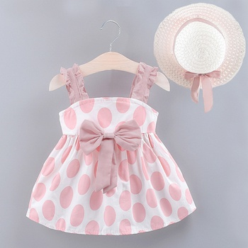 Baby / Toddler Bowknot Decor Dotted Dresses with Hat