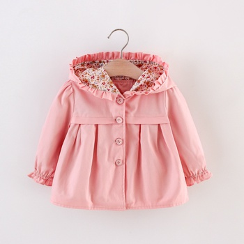 1pc Baby Girl Solid Long-sleeve Floral Cotton Tops Coat Jacket