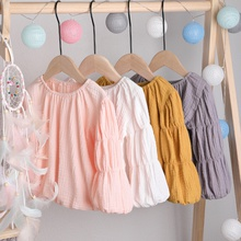 Baby / Toddler Newest Solid Linen Long-sleeve Top