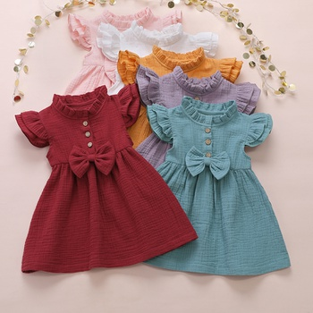Baby / Toddler Girl Casual Solid Linen Bowknot Dresses