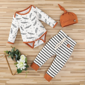 3pcs Baby Unisex casual Feather Long-sleeve Cotton Romper Baby's Sets