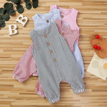 Baby Striped Overalls Round Neck  Jumpsuit