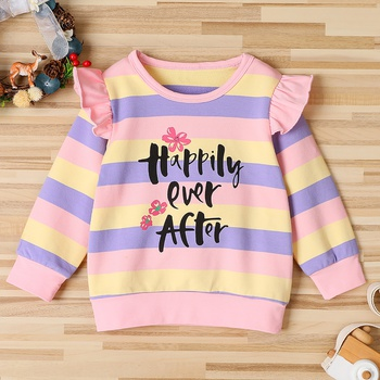 Baby / Toddler Letter Striped Long-sleeve Pullover