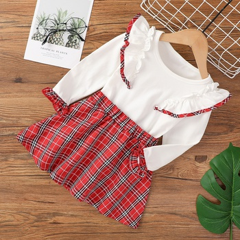 2-piece Baby / Toddler Girl Preppy style Plaid Ruffled Top and Skirt Set