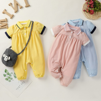 Baby Polo Collar Short-sleeve Jumpsuit