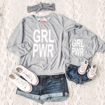 Letter Print Light Grey Sweatshirts for Mommy and Me