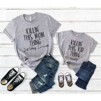 Letter Print Short-sleeve T-shirts for Mom and Me