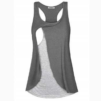 Stylish Color Contrast Layered Nursing Tank