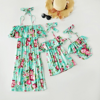 Mosaic Summer New Flounce Off Shoulder Tassel Dresses Rompers For Mommy and Me