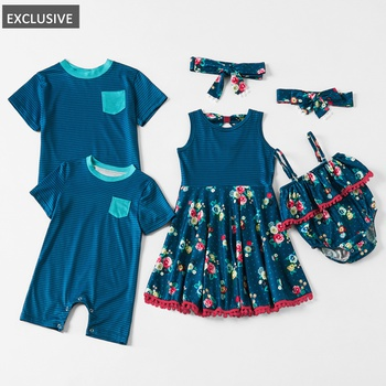 Mosaic Family Matching - Sibling Stripe Tee - Sister Tank Twirl Dresses for Girl - Boy - Baby