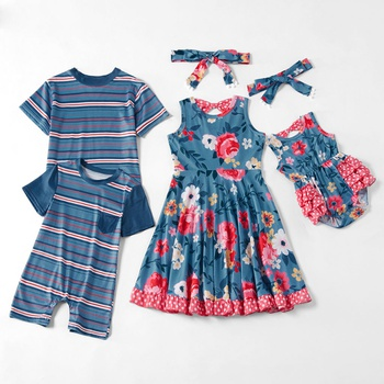 Mosaic Family Matching - Sibling Striped Floral Dresses Tee Romper for Boy - Girl - Baby