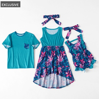 Mosaic Family Matching - Sibling Maple Leaf Tee Sister Tank Dresses for Boy - Girl- Baby