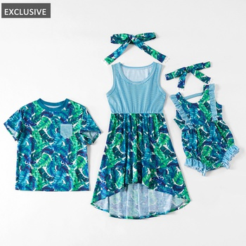 Mosaic Family Matching - Sibling Leaf Print Tee Sister Color Block Dresses Romper for Girl - Boy - Baby