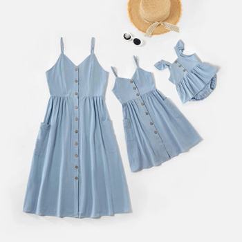 Mommy and Me Solid Blue Cotton Matching Sling Midi Dresses with Buttons