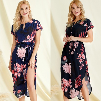 Graceful Asymmetric Printed Summer Dress