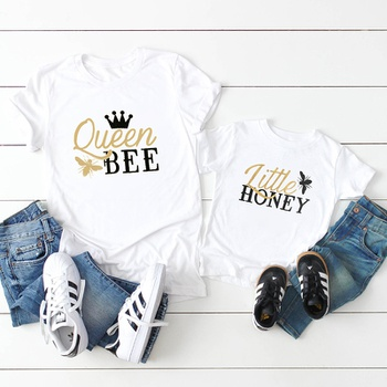 BEE AND HONEY Letter Print Pattern White Tops for Mom and Me