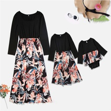 Mommy and Me Long-sleeve Lily Printed Stitching Dresses