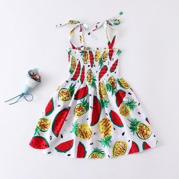 Baby Fruit Print Strappy Dresses