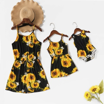Sunflower and Daisy Print Matching Black Sling Shorts Rompers