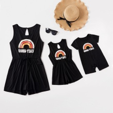 GOOD VIBES Rainbow Print Sleeveless Rompers for Mommy and Me