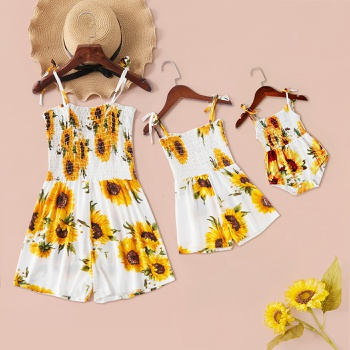 Mommy and Me Sunflower Print Sling Short Rompers