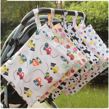 Waterproof Reusable Carroon Printing Pocket Nappy Bags Travel Wet Dry Bags Diaper Bag