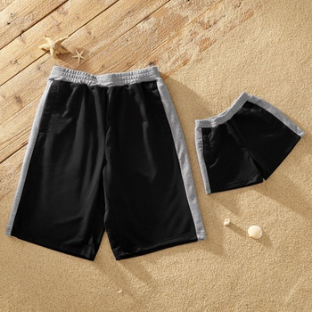 Grey Side Black Shorts for Daddy and Me