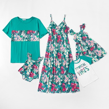 Mosaic Family Matching Floral Tank Dresses Turquoise Color T-shirts