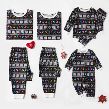 Christmas Colorful Lantern Family Matching Pajamas Sets (Flame Resistant)