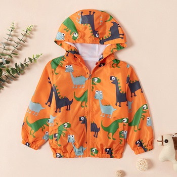 Cute Dinosaur Print Hooded Jacket For Boys