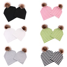 Six-colors Hairball Double cotton Caps for Mommy and Me