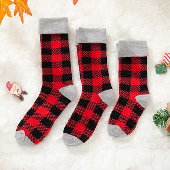 Christmas Plaid Print Stitching Solid  Socks for Family