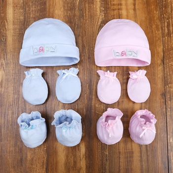 3-piece Solid Cotton Hat with Bow decor socks and Anti-scratch Gloves