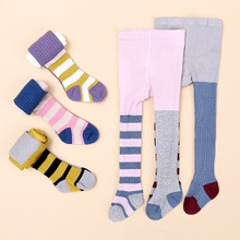 Baby / Toddler Girl Striped Colorblock Stretchy Knitted Pantyhose
