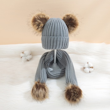 2-piece Baby / Toddler Casual Pompon Decor Solid Warm Hat and Scarf Set
