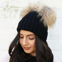 Fashion Women Two Faux Fur Pompom Thickened Winter Hat Cap
