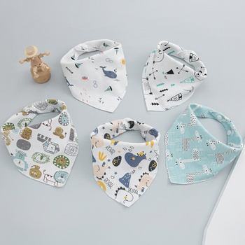 5PCS Baby Bibs Cute Cotton Infant Saliva Bibs Cute Baby Towel Infant Stuff