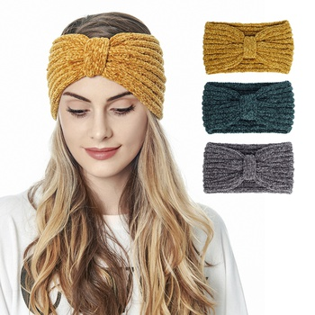 Knitted Warm Two Vertical Hair Band Ear Protection Headcover Knitted Headband Autumn And Winter Hair Accessories