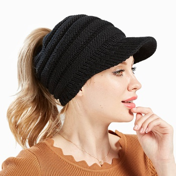Woman Gifts Ponytail Hat Wool Winter Hat Visor Cold Weather Knitted Special Ponytail Design Baseball Cap Hat